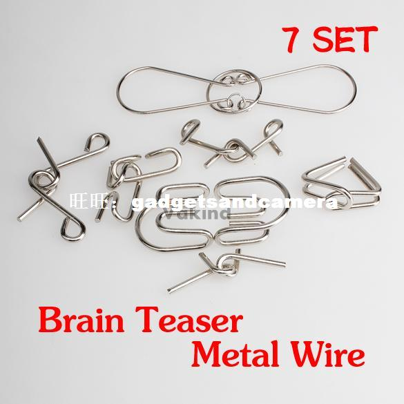 Sets IQ Test Mind Game Toys Brain Teaser Metal Wire Puzzle 3d wooden brain teaser puzzle colorful iq mind educational wood game toys for children adults