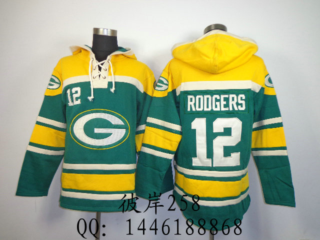 Форма для гандбола Football clothing  Green Bay Packers 12 Rodgers Green Hoodie