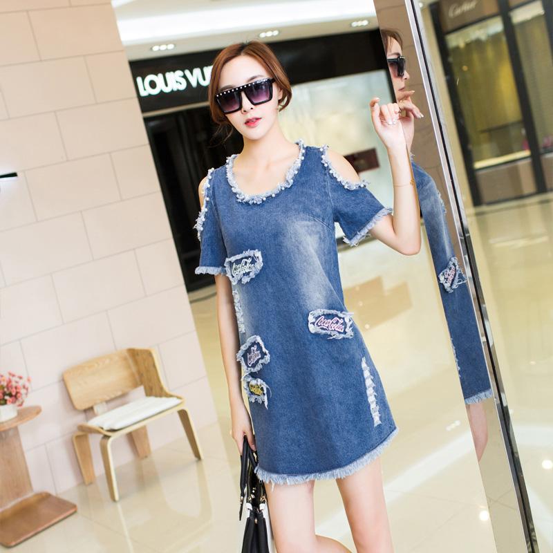 Женское платье Джинсовый платье девушка летом 2015 года новый институт сладкий без бретелек прямой размер Слим похудение юбка джинсовая