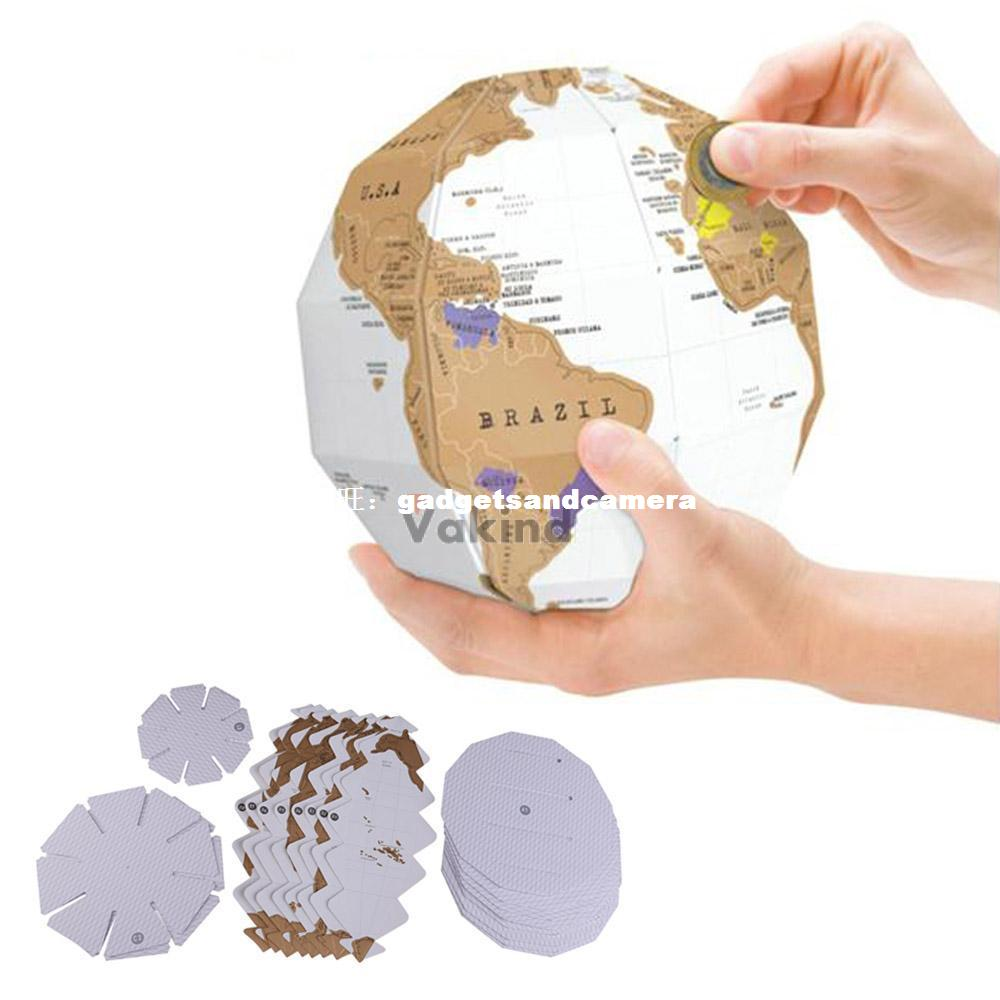 V1NF 3D Globe World Map Build Explore Scratch Personal Trave 1pc 32cm world globe map ornaments with swivel stand home office office shop desk decor world map geography educational tool