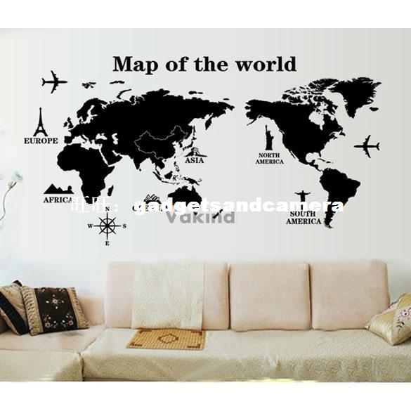 Map Of The World Removable PVC Decal Wall Sticker Home Decor the physical world wall map material laminated