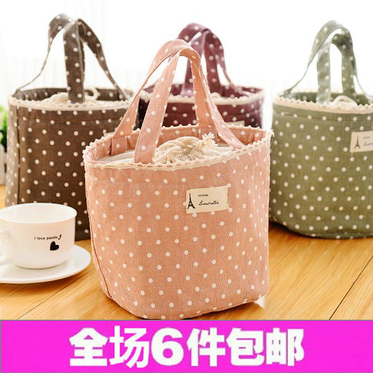 Сумка для ланчбоксов Cotton dot lunch package aosbos fashion portable insulated canvas lunch bag thermal food picnic lunch bags for women kids men cooler lunch box bag tote