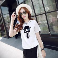 夏天白色短袖t恤卡通人物体恤宽松简约T桖夏季上衣2015新款女装潮