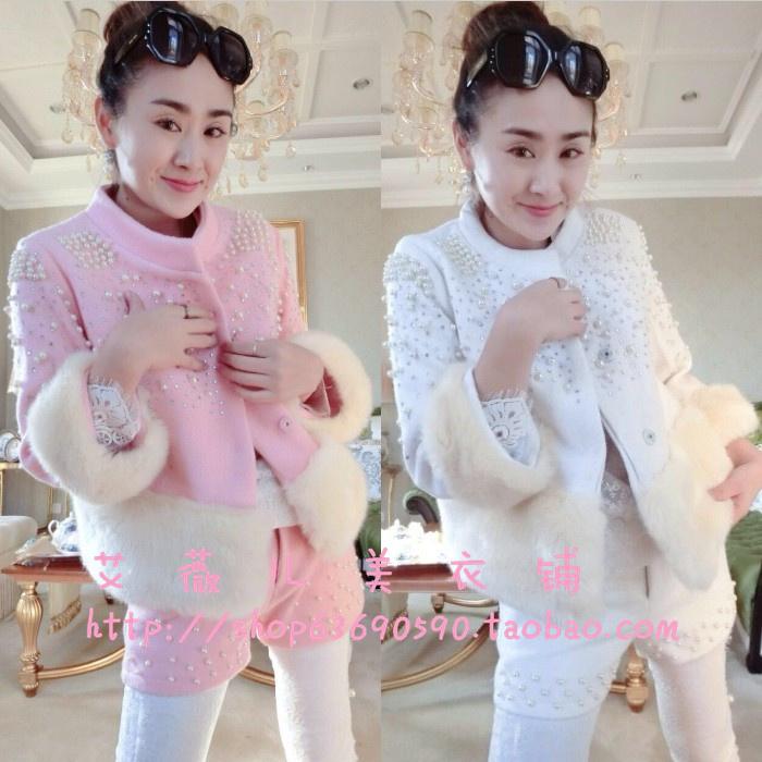 Европы 2014 года Зимние новые светская малые поля дышать сладкий шорты костюм жемчуг в тяжелых шерсти длинные пальто женские