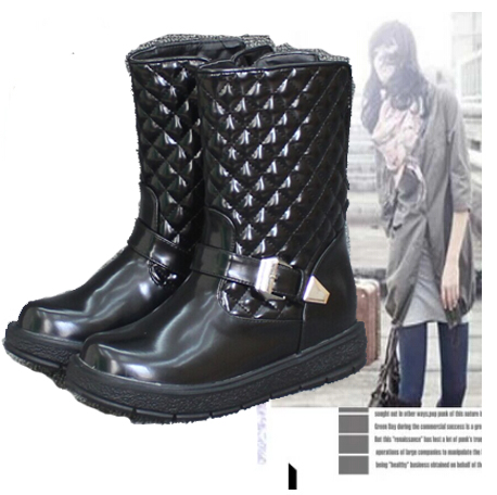 Женские сапоги 2015Russian Style Women Winter Boots Rain Boots new women over knee boots with fur black thigh high boots shoes woman round toe winter stretch slim winter boots black fs 0104