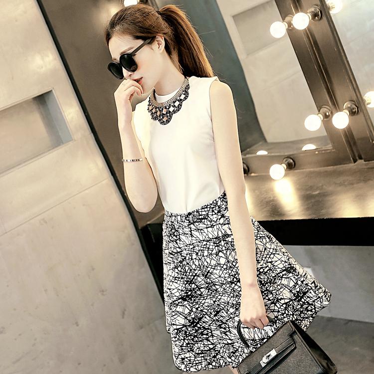 新款2015夏装韩版女装背心印花半身裙两件套装D-16