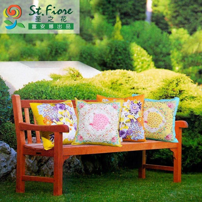 富安娜全棉印花可爱沙发靠垫创意靠垫办公室