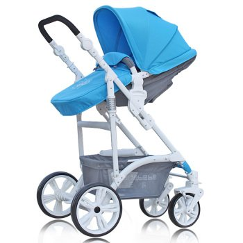 Четырёхколёсная коляска Mail three Le European landscape ultra/light strollers summer shock baby stroller wheel baby stroller baby light umbrella might ride reclining cradle folding trolley sky blue