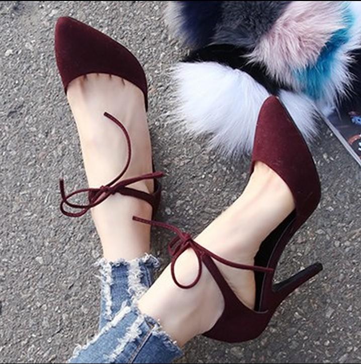 туфли Корея, приобретение подлинных обувь весной 2015 каждое слово в новой Европе и OL света указал ботинки высокой пятки обувь женская tide