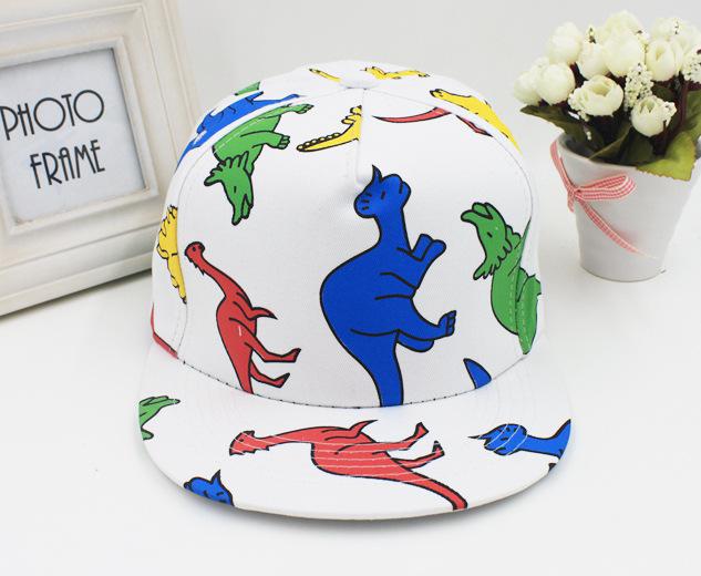 Головной убор Сообщение корейской версии Красочный мультфильм динозавр граффити хип-хоп пара Cap козырек бейсбол Кап мужчин и женщин плоским полями шляпа