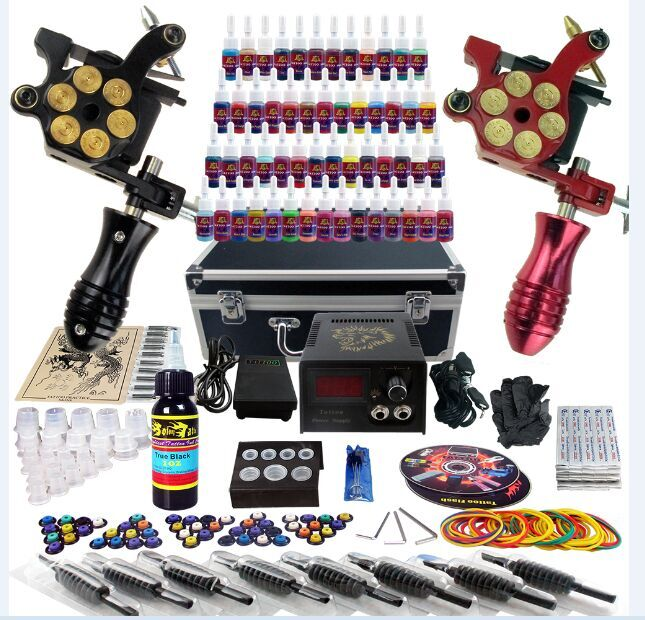Бодиарт The fourth quarter of color ! Tattoo Tattoo Kit Machine 4 pcs liner shader tattoo rotary motor gun machine kit set swashdrive