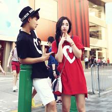 徐琳2015夏季新款独家定制韩版宽松大码纯色爱心情侣装夏装T恤潮