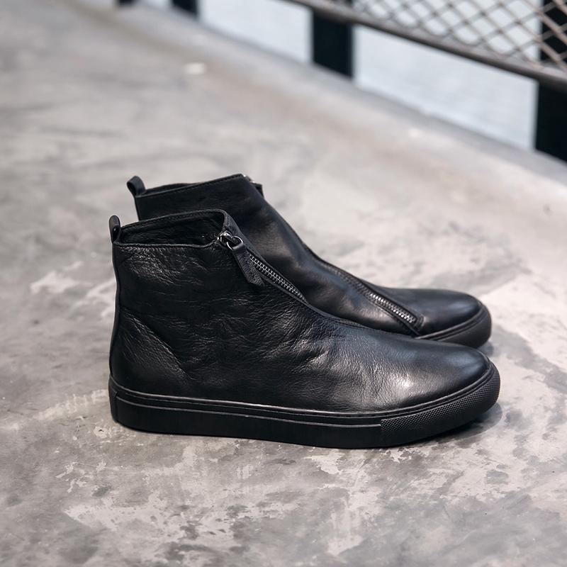 秋冬新款真皮黑色马丁靴男欧美切尔西靴时尚工装短靴高帮休闲男鞋