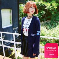 韩都衣舍2016韩版女装秋装新款显瘦贴布刺绣开衫毛衣JM5574蒖0808