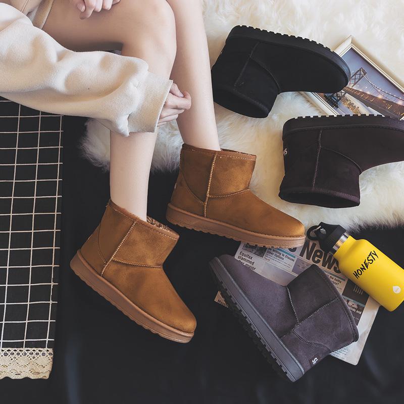 2018冬季新款短筒雪地靴女百搭网红短靴子韩版平底中筒加绒棉鞋秋