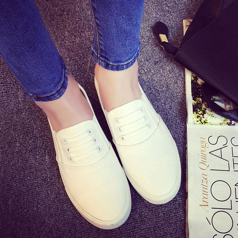 Женские кеды Педали Kaho обувь Обувь повседневная обувь корейской версии Весна Обувь ленивый человек, к 2015 году студент обувь воздуха белые женщины
