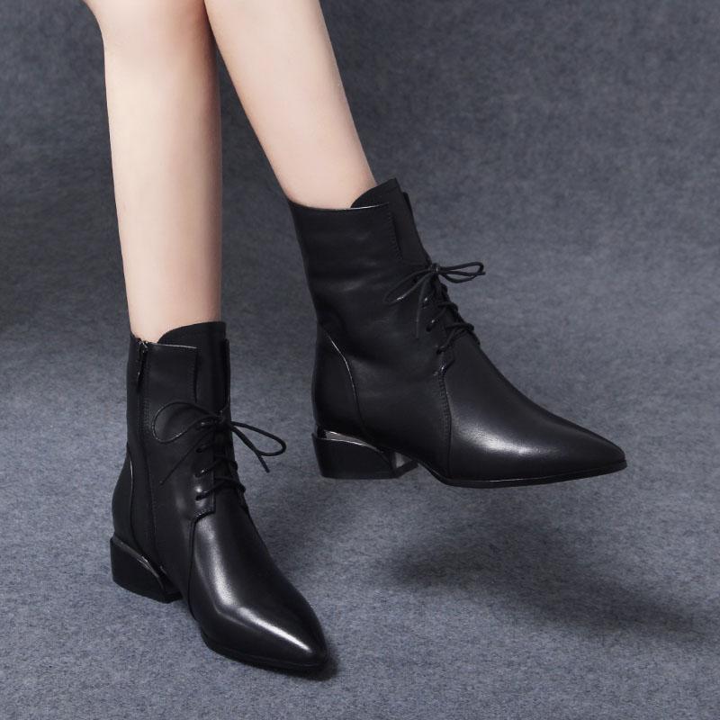 2020年新款冬季马丁靴女鞋真皮小短靴秋鞋尖头系带春秋单靴女靴子