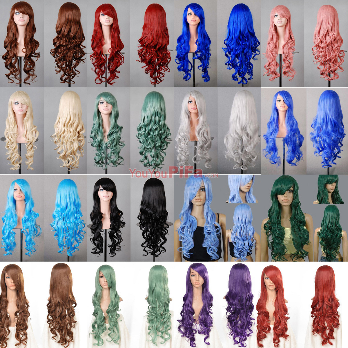 Парик   Anime Cosplay Wig Multicolor 80CM Long Curly Hair 2015 free shipping cosplay hair wig v miku markkaa black double horsetail cosplay wig 042b hot sale