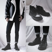 British retro locomotive Martin boots ins black ulzzang tooling snowfield boots Chao Men's Port windy high leather shoes