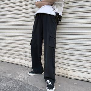 超火工裝褲女夏季薄款黑色百搭寬松高腰直筒褲顯瘦拖地闊腿褲垂感