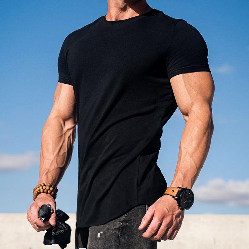 肌肉博士运动短袖潮牌ins健身T恤男户外纯色休闲跑步器械训练衣服