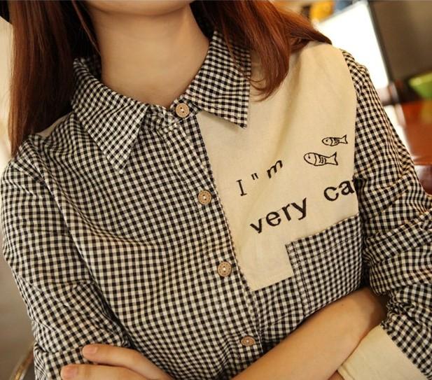 женская рубашка Японские вышивка рыбки небольшие черно-белые плед рубашку Мори девушка Англии чистый лес длинные хлопчатобумажную рубашку