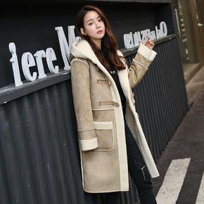 2018冬季新款韩版羊羔毛棉服女中长款鹿皮绒加厚百搭宽松学生外套