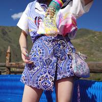 【售罄】金文聪原创自制 鱼人饮月 夏季中国风图腾百搭显瘦高腰裙