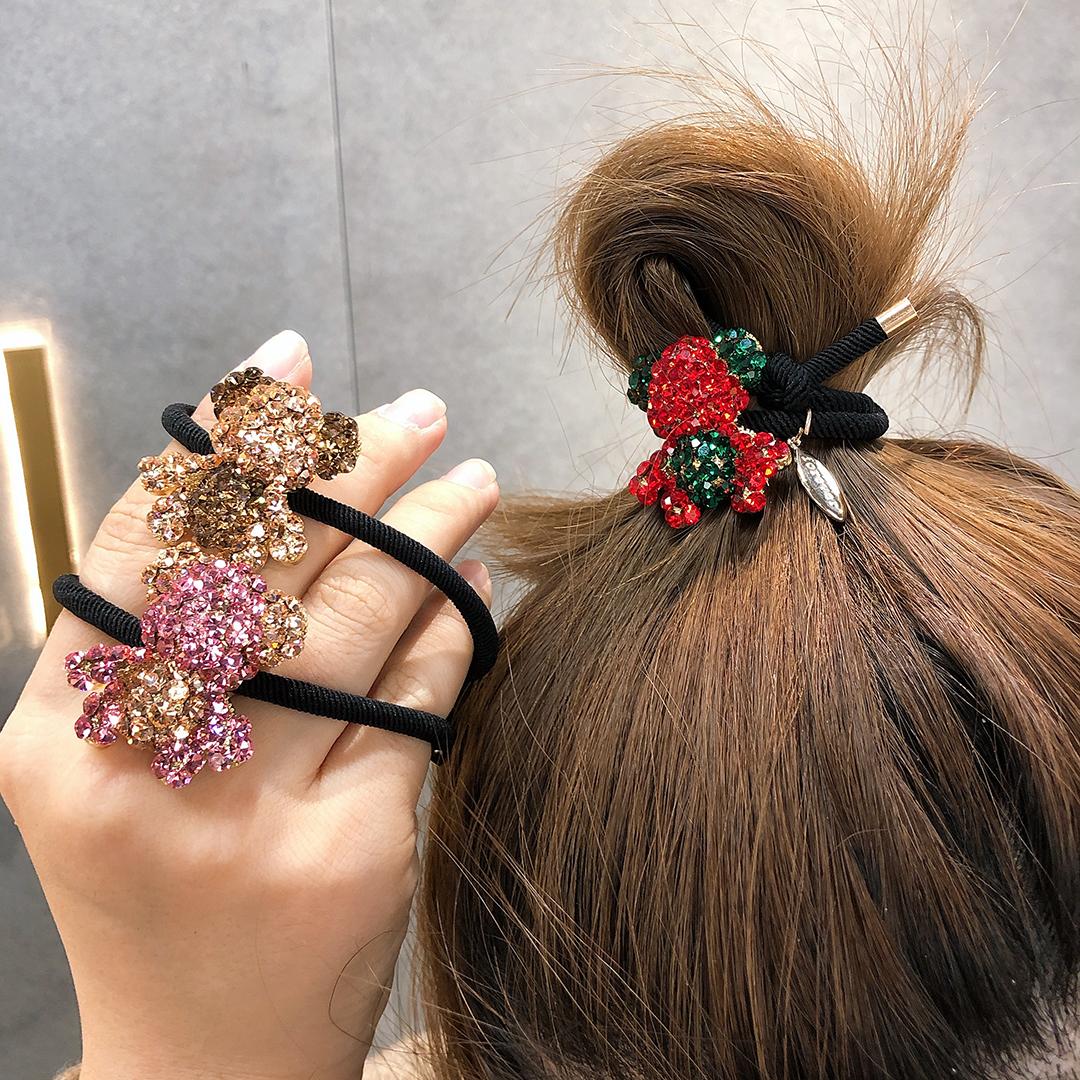 网红少女可爱小熊满钻头绳女丸子头发圈扎马尾百搭甜美橡皮筋发饰