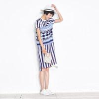 【17-5】2016新款拼接条纹连衣裙短袖直筒裙中长款62L4648