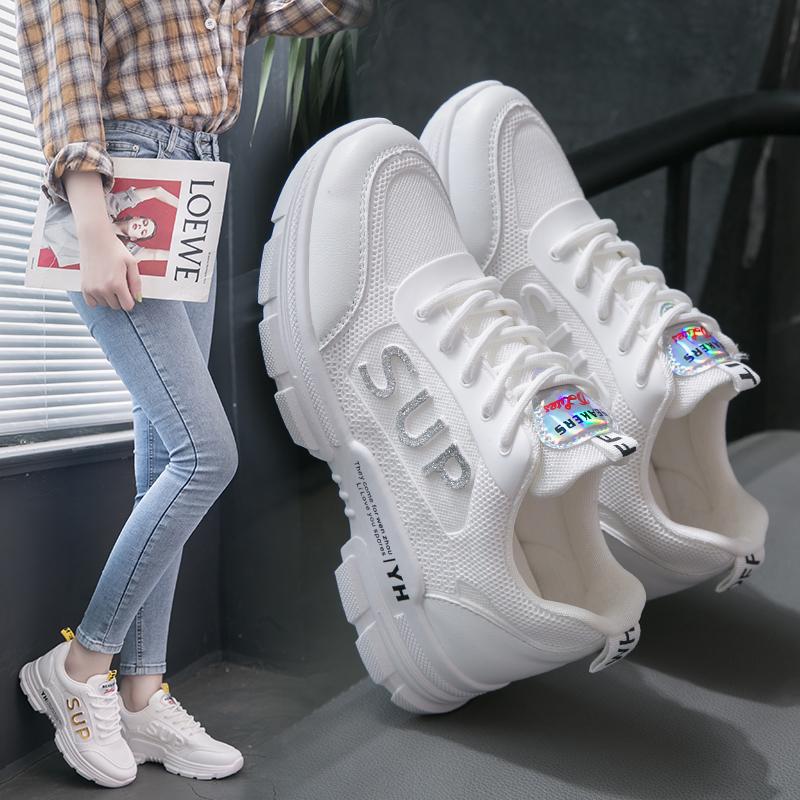 女鞋运动鞋2020春款新款透气网面鞋休闲小白鞋女春季跑步鞋松糕鞋