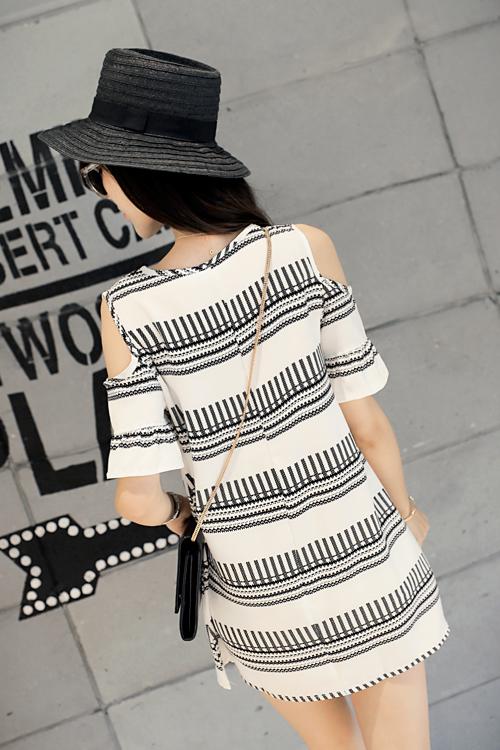 新款2015夏装韩版女装圆领露肩印花A字显瘦连衣裙E-28
