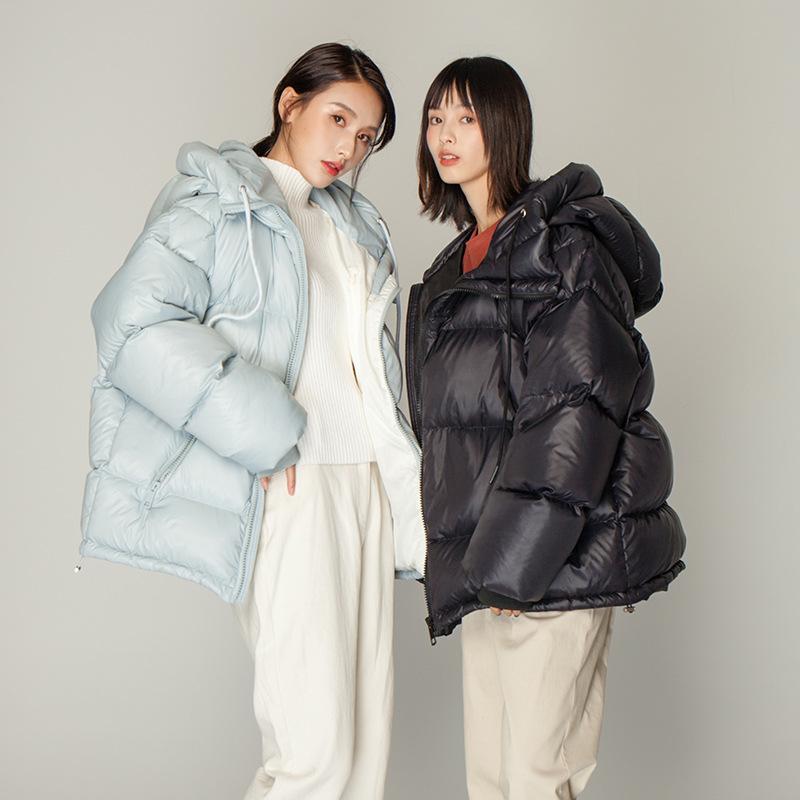 2020冬新款韩版亚光亮面双拉链棉服女休闲宽松保暖面包服棉衣短款
