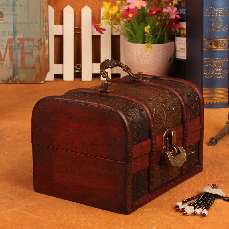 Шкатулка Новый старинные деревянные Коробочки блокировки для хранения ювелирных изделий поле тщеславия случай с отделочные элементы креативные подарки