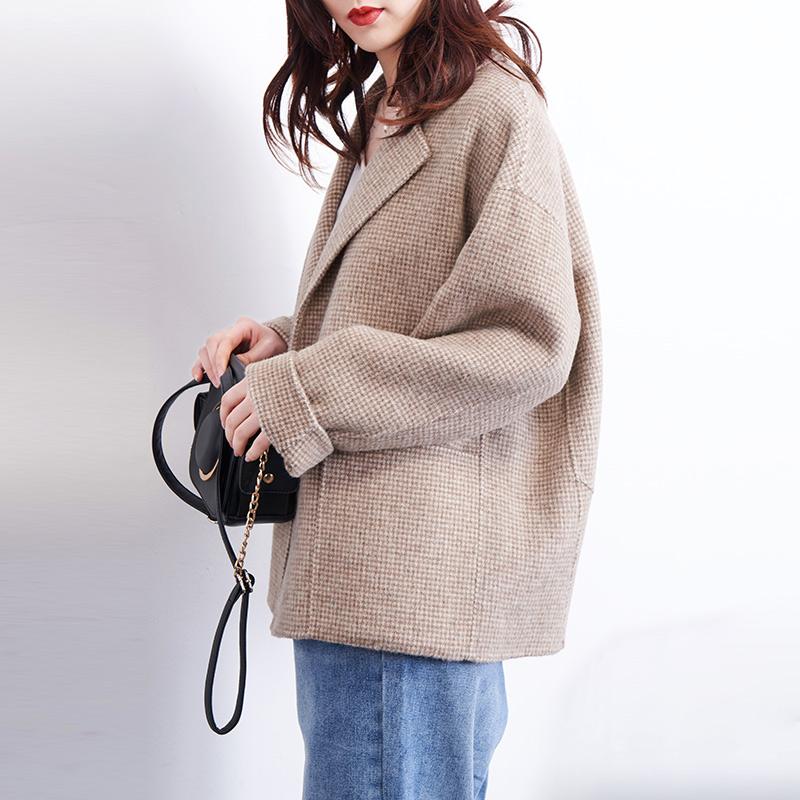 格子毛呢小外套短款双面呢2020中款矮小个子双面羊绒大衣外套女