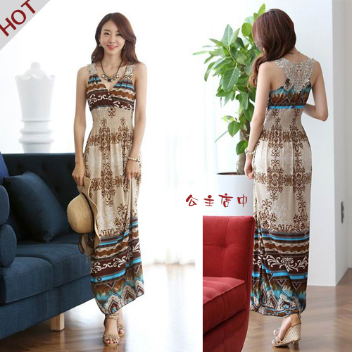 Женское платье  1054 Women Summer Dress2015 Long Beach Dresses женское платье print long beach dress 2015 d v g s xxl mf040201