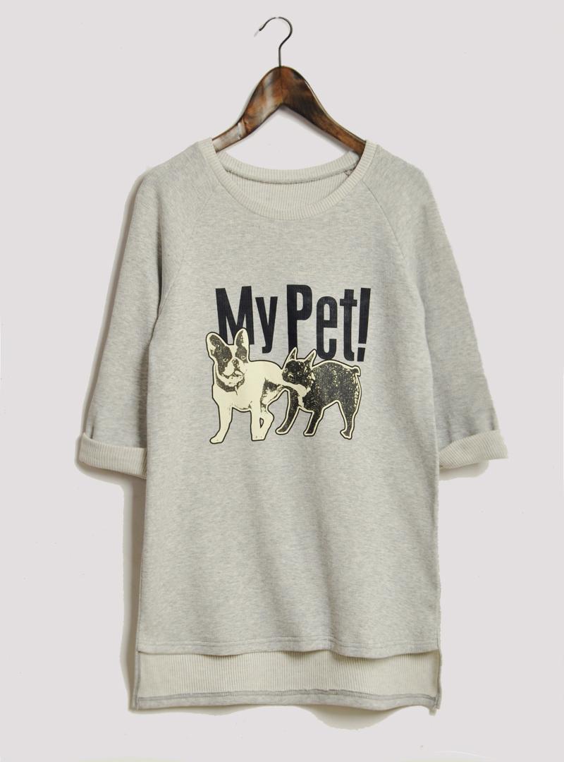 Толстовка женская Пользовательские ткани Весна в Корее новых собак потерять семь письмо печати в длинными рукавами t рубашка свитер ОП юбка