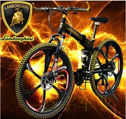 Горный велосипед Lamborghini one wheel folding mountain bicycle bike double shock absorber oil/Shimano disc BB5 disc brakes _ Shimano aluminum alloy bicycle crank chain wheel mountain bike inner bearing crank fluted disc mtb 104bcd bike part