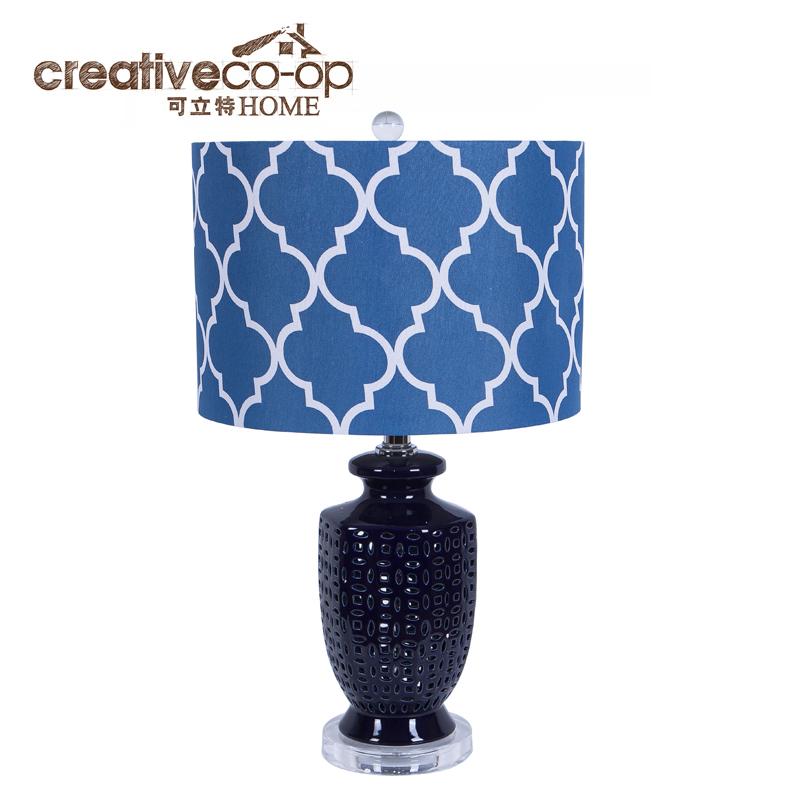 可立特深蓝色陶瓷底座台灯 ch0175