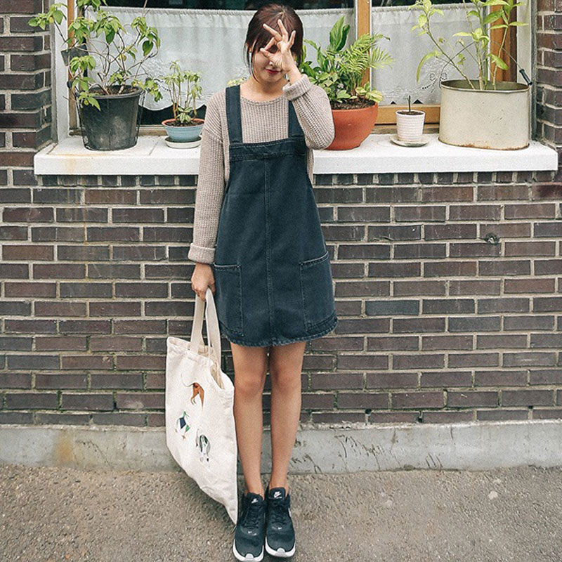 Женское платье 2015 году весна новые свободные большой карман жилет юбка Дикие Сладкая джинсовый комбинезон платье девушки одеваются летом