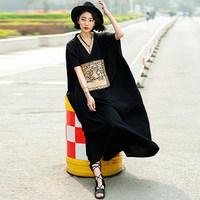 稀有概率原创oversize宽松刺绣短袖连衣裙女夏长款和风显瘦长裙