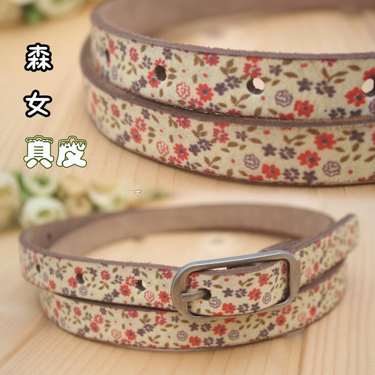 Ремень Мори девушка печати пояса 1,8 см пастырское живописи изысканные свежие цветочные кожи пояса галстук пояса кожаные женщина