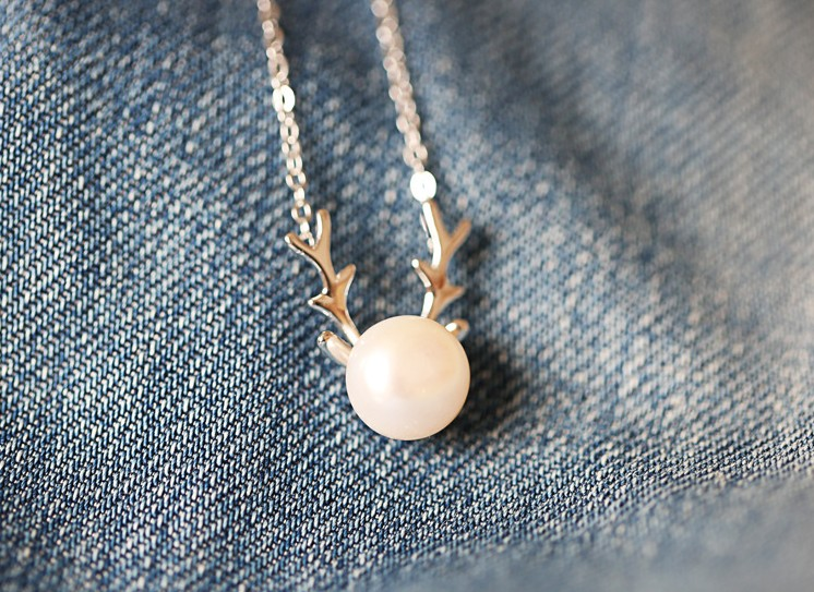 Ожерелье Bai Zhenzhu открыл Роуз. S925 серебряное оленей природных пресноводной жемчужиной кулон ожерелье набор xl02