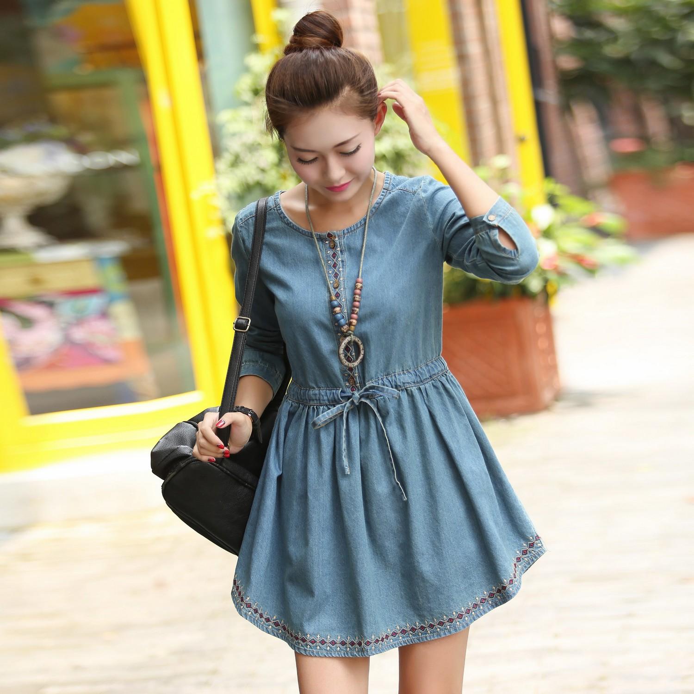 Женское платье 2014 Весна новый плюс размер похудения жира дамы Национальный Ветер плавности мм длинные джинсовая платье