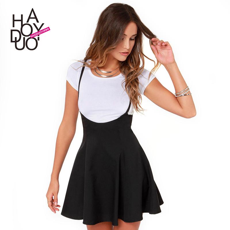 Женское платье Haoduoyi 142518351 сладкий печатных шифон рукав платье в звезд полый в качели юбки обратно кнопки haoduoyi ремни
