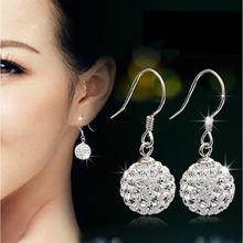 925纯银耳钉饰品双 水晶 配饰时尚 女 长款耳环耳坠韩国正品 气质