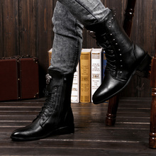 Spring and Autumn Men's Boots Korean Edition Fashion Tip Inner Heightening Men's Shoes Riveted Boots High Upper Midbarrel Martin Boots Men's Boots