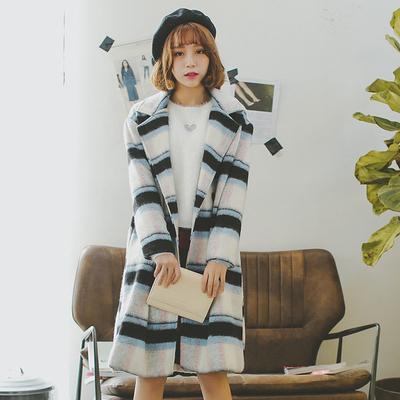 韩国东大门OVERSIZE冬款学院风女装复古格子中长款毛呢外套大衣女