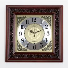 中国风时钟实木钟表中式挂钟正方形客厅挂表整点报豪华创意石英钟-图片