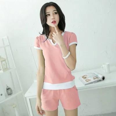 韩版新款纯棉休闲套装女睡衣短袖夏季棉质大码运动家居服少女装潮